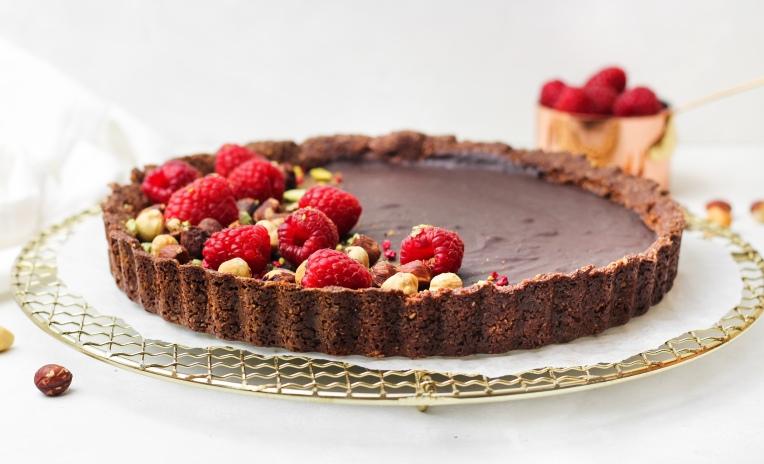 Gluten free chocolate hazelnut tart