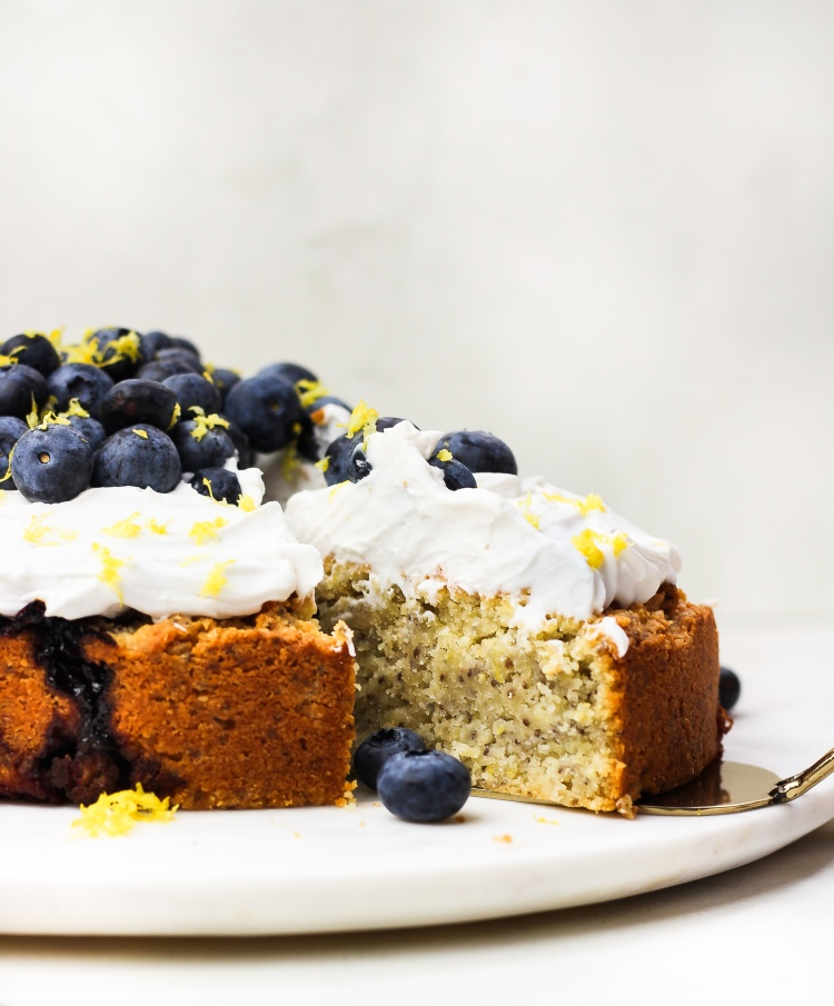 Gluten Free Lemon & Blueberry Almond Cake