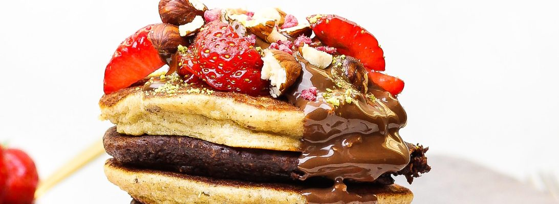 Gluten Free Chocolate & Banana Hazelnut Pancakes